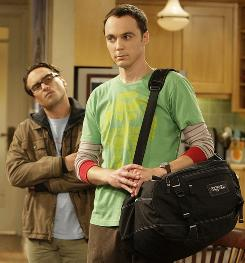 Jim Parsons, foreground, stars in The Big Bang Theory alongside Johnny Galecki. Parsons' physicist character appears to be gaining more screen time as the show gains more viewers.