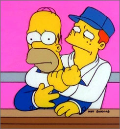 """It's a thin line between love and hate: The Simpson-ized version of Ron Howard has come to blows with Homer on more than one occasion. He says that his kids still rank his time in Springfield as his """"coolest turn."""""""