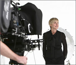Ellen DeGeneres, the newest face of CoverGirl, shoots an ad for her Simply Ageless campaign.