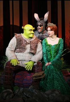 Brian d'Arcy James is the lovable ogre Shrek, while Daniel Breaker plays his sidekick Donkey and Sutton Foster is his true love, Princess Fiona, in Shrek the Musical, now playing at the Broadway Theatre.