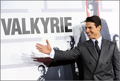Suited up: Tom Cruise attends the Monday premiere of Valkyrie  at Rose Hall, inside the Time Warner Center, in New York.