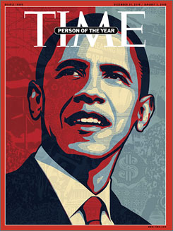 "Time has tapped President-elect Barack Obama as 2008's ""Person of the Year."""