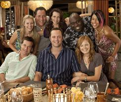 Can their marriages be saved? Kristen Bell, clockwise from top left, Jon Favreau, Kristin Davis, Faizon Love, Kali Hawk, Malin Akerman, Vince Vaughn and Jason Bateman star in Couples Retreat, directed by Peter Billingsley.