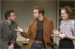 Doctors convinced Jeremy Piven, center, to pull out of Speed-the-Plow due to mercury-related illness, reports Variety. Norbert Leo Butz and William H. Macy, a frequent Mamet collaborator, will split the rest of the remaining dates.