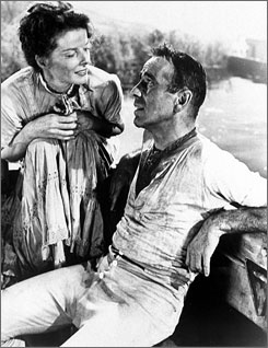 Aboard The African Queen: Missionary (Katharine Hepburn) persuades rugged riverboat captain (Humphrey Bogart) to attack a German warship.