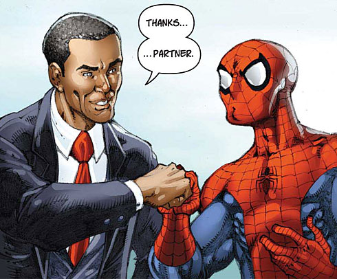 Image from Marvel comic featuring Barack Obama