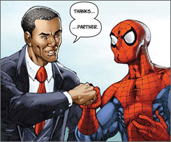Superheroic fist bump: Barack Obama and Spider-Man.