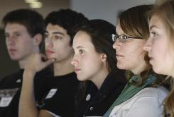 """Facing the future: Drake High School students David Crosse, left, Ben Green, Stephanie Blazek, Marika Lee and Jenny Marshall, all 17, discuss how the economy affects them. """"This is a wake-up call to how much we had,"""" Marshall says."""