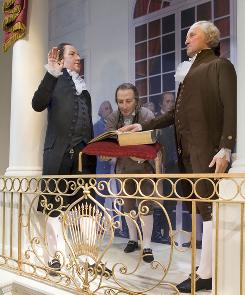 "The display at Mt. Vernon showing George Washington's inauguration includes a footnote indicating that scholars say there's no proof he said ""So help me God."""