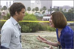Michael C. Hall and Jennifer Carpenter play brother and sister on Dexter.