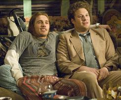 James Franco, left, and Seth Rogen are potheads on the run in Judd Apatow's comedy Pineapple Express.