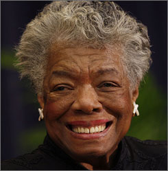 """""""I shall enjoy those and not miss one flicker of the camera,"""" says poet Maya Angelou, who plans to watch Barack Obama's inauguration  on TV at home in North Carolina."""