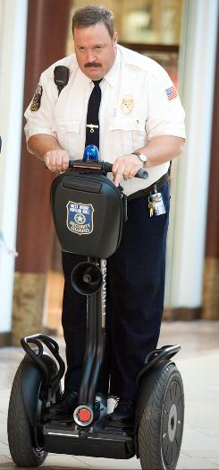 Kevin James stars as mall cop Paul Blart, who putters around on a Segway as if it's a police motorcycle.