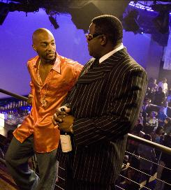 Anthony Mackie, left, portrays Tupac Shakur, whose friendship with Biggie Smalls (Jamal Woolard) would not last.