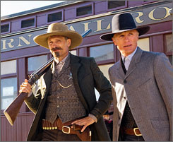 Appaloosa: Viggo Mortensen, left, and Ed Harris lay down the law, until a lady gets under their spurs.