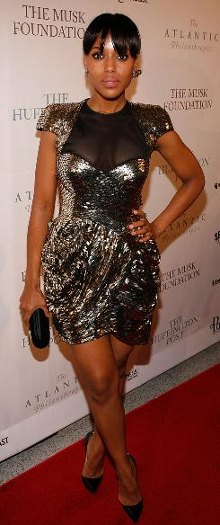 Party time: Kerry Washington at Monday's Huffington Post ball. She planned to hit the Neighborhood Ball and the Creative Coalition gala Tuesday.