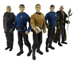 Command Collection figures: Original Spock, left, McCoy, Kirk, young Spock and Nero.