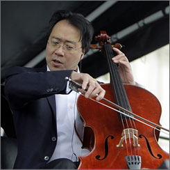 Cellist Yo-Yo Ma (shown here), violinist Itzhak Perlman, pianist Gabriela Montero and clarinetist Anthony McGill decided to use a taping because the weather was too cold for the instruments to stay in tune.