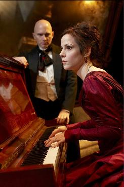 Hedda (Mary-Louise Parker) feels trapped in a loveless marriage to Jorgen Tesman (Michael Cerveris) in the revival of Ibsen's Hedda Gabler.
