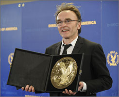 """DGA winner Danny Boyle on being given his award by Joel and Ethan Coen: """"To step into the shoes of people like the Coen brothers, I mean, it's phenomenal, because I have, as I admitted in the earlier speech, I've stolen from them all my career,"""" he said. """"I mean in a naked and appalling way."""""""