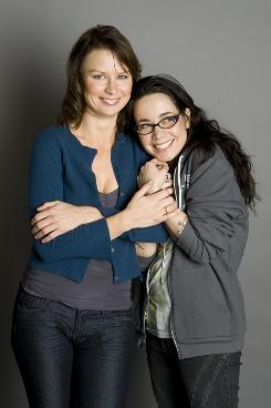 "On-set antics: Mary Lynn Rajskub, left, and Janeane Garofalo play rivals on 24, but the pals have plenty of laughs during shooting. ""If we make eye contact, forget it,"" Garofalo says."