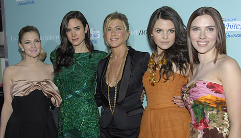 Girls' night out: Drew Barrymore, left, Jennifer Connelly, Jennifer Aniston, Ginnifer Goodwin and Scarlett Johansson.