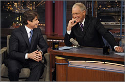 Former Illinois Gov. Rod Blagojevich chats with David Letterman Tuesday for a taping a of The Late Show.