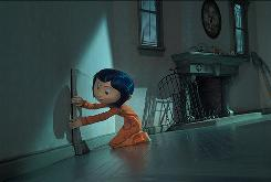 Coraline (Dakota Fanning) finds a parallel universe behind a door in the stop-motion animation film, which is based on Neil Gaiman's best seller.