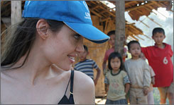Angelina Jolie visits with Karenni refugee children in Thailand's Mae Hong Son Province, near the Thai-Myanmar border.  This is her third visit to Thailand.