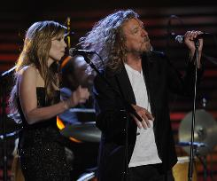 Alison Krauss and Robert Plant perform at the Grammy Awards Sunday in L.A.. The bluegrass star and rock star were nominated for five awards, and won all five, including album of the year.