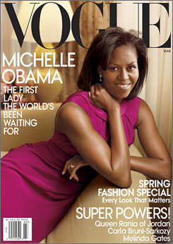 Michelle Obama went back to Jason Wu, the designer who created her one-shouldered inaugural gown, for the fuschia frock she's wearing on the new Vogue cover.