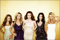 It's not known when or how Nicollette Sheridan's bad girl alter-ego, Edie Britt (right), will be written out of Desperate Housewives. Her co-stars are Eva Longoria Parker, left, Felicity Huffman, Marcia Cross and Teri Hatcher.