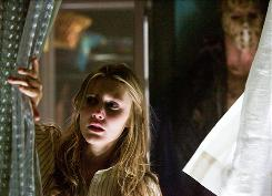 Still at large: Killer Jason (Derek Mears) lurks behind Bree (Julianna Guill) in the franchise's latest.