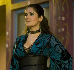 Sans beard: Salma Hayek stars in the film about two feuding vampire factions, due later this year.