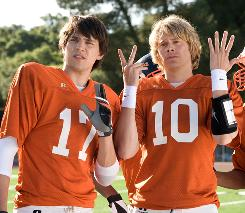 Nicholas D'Agosto, left, and Eric Christian Olsen play a couple of football jocks whose minds are definitely not in the game.