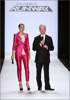 Host Heidi Klum and mentor Tim Gunn carry on with the Project Runway show, even though the contestants' identities were kept secret since the television show has been tied up in legal limbo and hasn't aired yet.