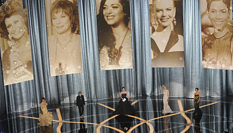 One of readers' favorite changes was the individual tributes to the acting nominees by previous winners of each category. Here, Sophia Loren, left, Shirley MacLaine, Marion Cotillard, Nicole Kidman and Halle Berry salute the lead actress candidates.