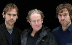 Behind the music: Bryce Dessner, left, John Carlin and Aaron Dessner produced Dark Was the Night.