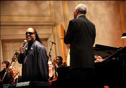 Stevie Wonder addresses the crowd at the Library of Congress, for whom he performed his new song Sketches of a Life. He'll receive the library's Gershwin Prize for Popular Song from President Obama at the White House on Wednesday.