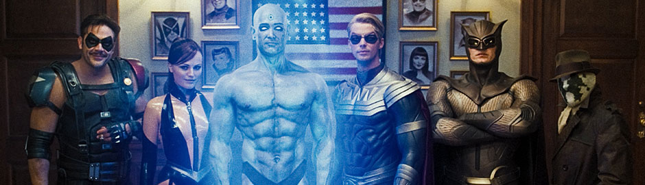 Who are the Watchmen? The Comedian (Jeffrey Dean Morgan), left, Silk Spectre II (Malin Akerman), Dr. Manhattan (Billy Crudup), Ozymandias (Matthew Goode), Nite Owl II (Patrick Wilson) and Rorschach (Jackie Earle Haley). 