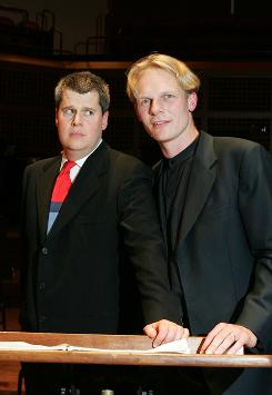 Author Daniel Handler, aka Lemony Snicket, left, wrote the words and composer Nathaniel Stookey did the score for their children's musical mystery, The Composer Is Dead, which they will perform at Carnegie Hall on Saturday.