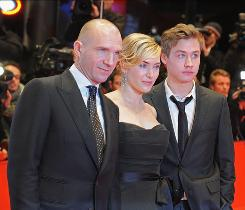 At Berlin Film Festival: Ralph Fiennes, left, Kate Winslet and David Kross at The Reader's German debut last month, where Winslet spoke of the challenges of making her character, a former concentration camp guard, warm and affectionate but also vulnerable and ashamed.
