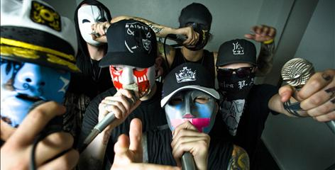 """Johnny 3 Tears, front left, J-Dog, Tha Producer and Charlie Scene, and Da Kurlzz, back left, and Funny Man are known for their bad-boy behavior. """"We've had plenty of run-ins with the law  public intoxication, graffiti, 'tinkle tickets,' """" Johnny 3 Tears says."""