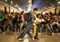 Dev Patel and Freida Pinto find their footing and true love in the finale dance number in best-picture Oscar winner Slumdog Millionaire.