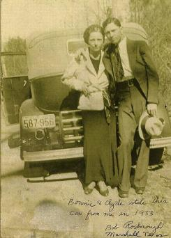 Bigger than life: Bonnie Parker, left, and Clyde Barrow, in a photograph from Go Down Together by Jeff Guinn, were surprisingly small people.