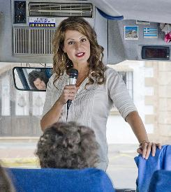 On your left, you'll see ... love? Georgia (Nia Vardalos), a professor who moves to Greece, gets a job as a tour guide and falls for the bus driver in My Life in Ruins, which opens May 8.