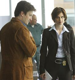 New partners: Mystery novelist Richard Castle (Nathan Fillion) helps Detective Beckett (Stana Katic) solve murders that copy those in his books.