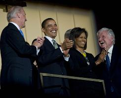Vice President Biden, left, President Obama, first lady Michelle Obama and guest of honor Sen. Ted Kennedy share a laugh during a musical birthday salute to Kennedy, who turned 77 on Feb. 22, at the Kennedy Center in Washington.