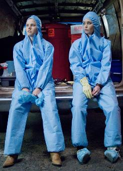 Crime scene immaculators: Amy Adams, left, and Emily Blunt make good money cleaning up bad things.