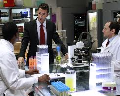 Jay Harrington, center, stars as Ted, head of research and development at Veridian Dynamics. Malcolm Barrett, left, and Jonathan Slavin play scientists.